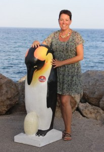 Gail Wareham with Pale the pinguin
